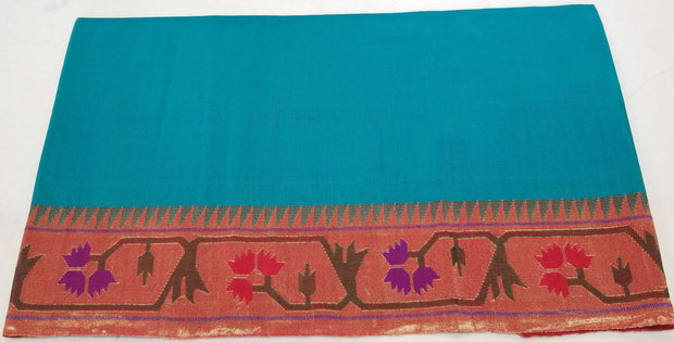Turquoise blouse piece with asawali border