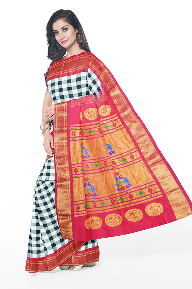 Black and white checks paithani with red border