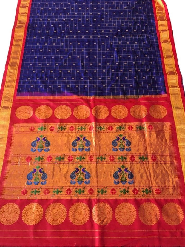 Blue checks silk paithani saree with red border