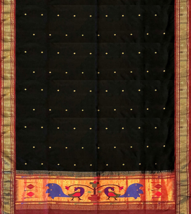 Black paithani dupatta with peacock design