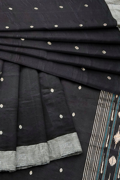 Black cotton paithani dupatta