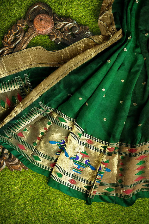 Bottle green pure silk paithani dupatta