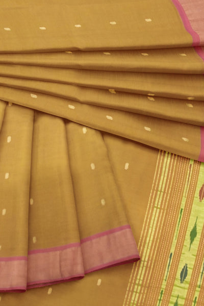 Moss green cotton paithani dupatta