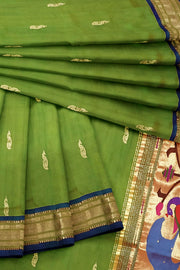 Green rich paithani dupatta with purple border