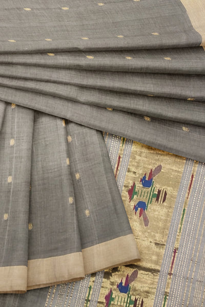 Grey cotton paithani dupatta