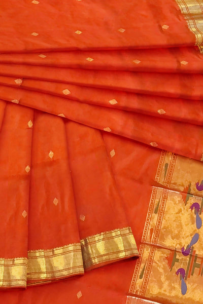 Orange paithani dupatta