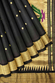 Black cotton paithani with rich pallu
