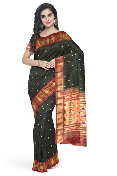 Black pure silk paithani with maroon border