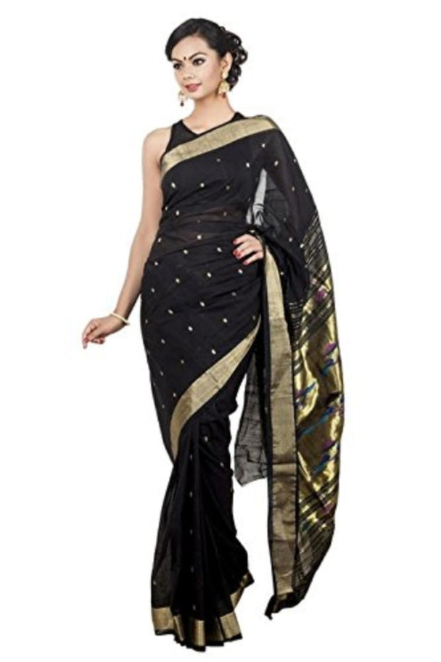 Black pure cotton paithani