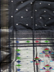 Black silver zari cotton paithani