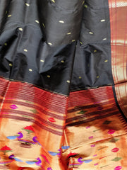 Black single color silk paithani