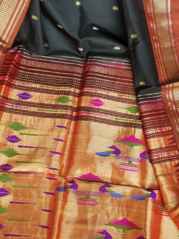 Black silk paithani with copper border