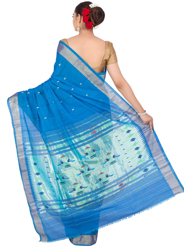 Blue cotton paithani