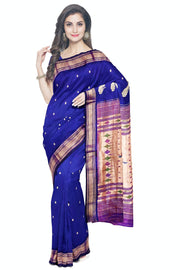 Bluish purple paithani in single color