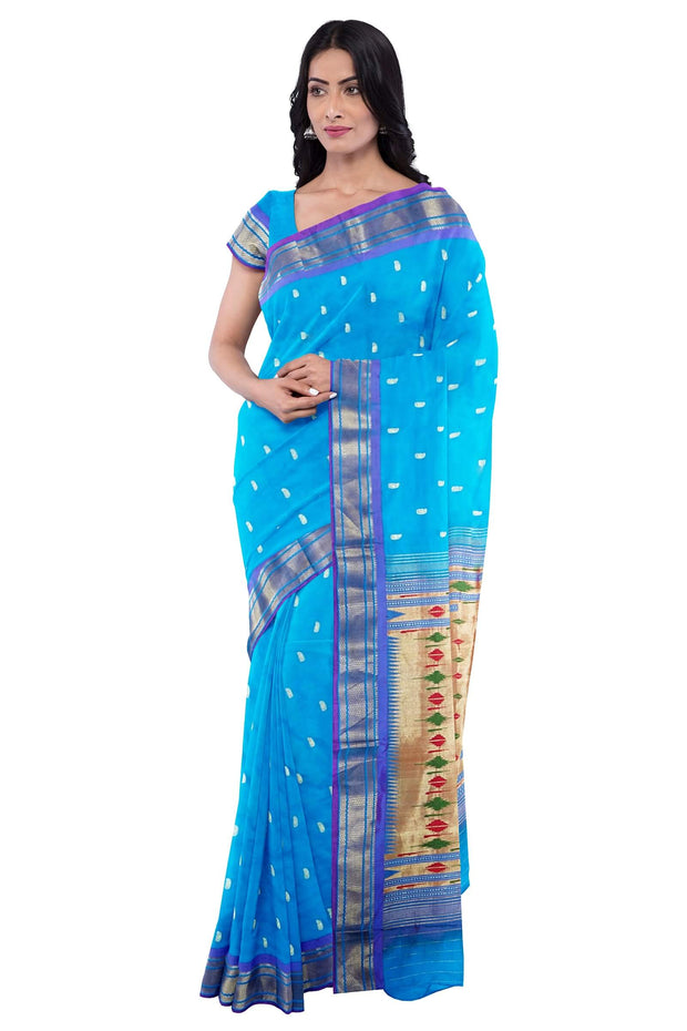 Turquoise paithani with blue border