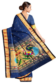 Blue rich pallu cotton paithani