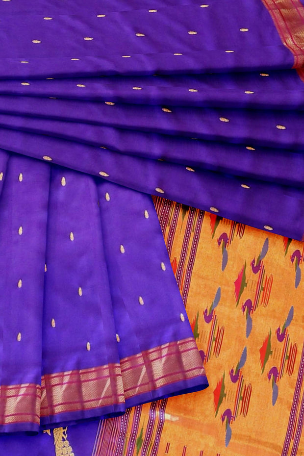 Blue single color double pallu paithani
