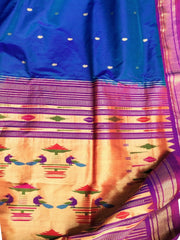 Two tone blue pure silk paithani