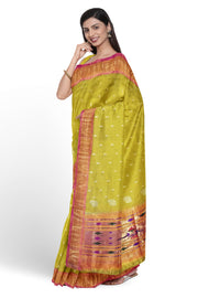Lime green silk paithani with pink border