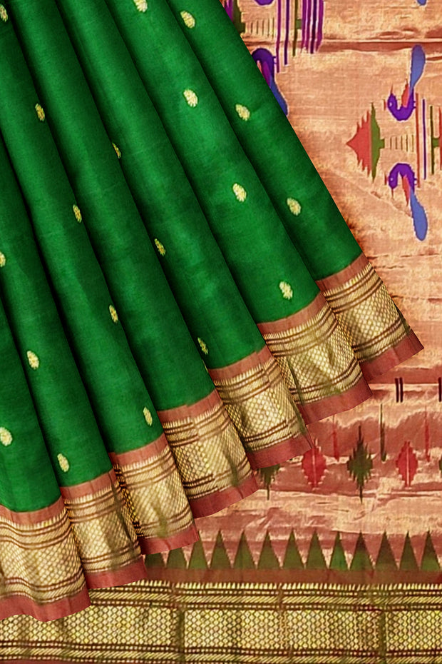 Bottle green paithani with copper border