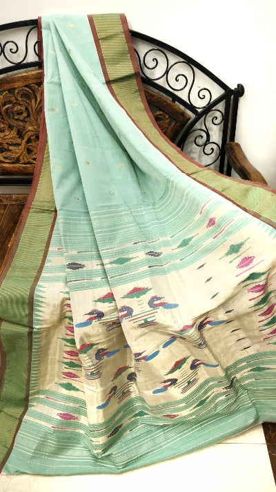 Mint green cotton paithani