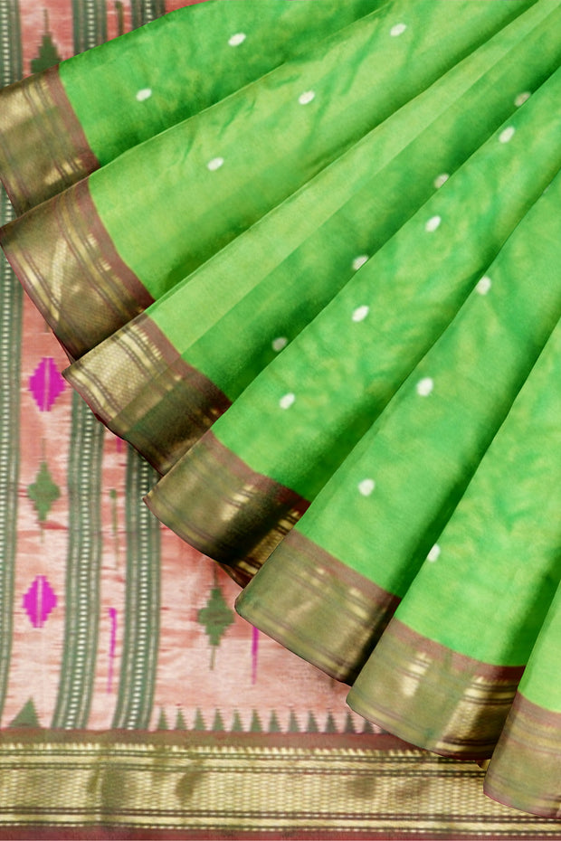Parrot green paithani with copper border