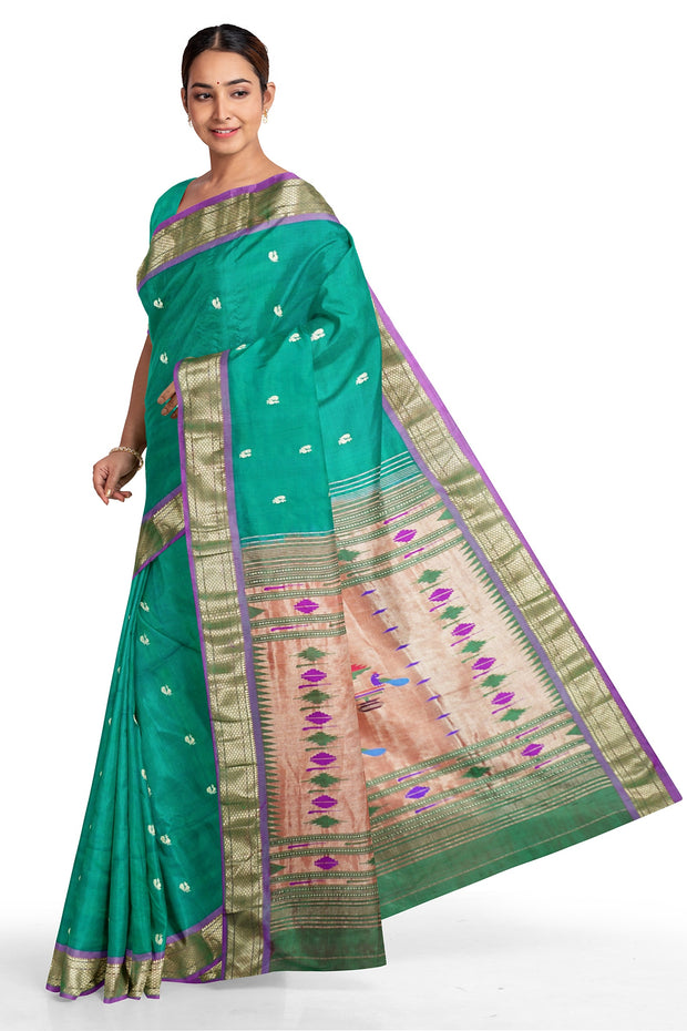 Peacock green paithani with blue border