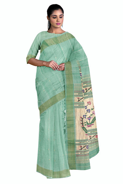 Pista green rich pallu cotton paithani