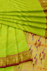 Lime green double pallu paithani