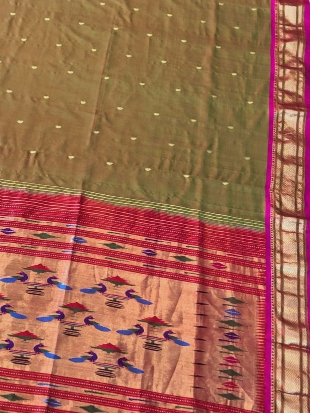 Two tone moss paithani with pink border