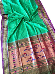 Green paithani with purple border