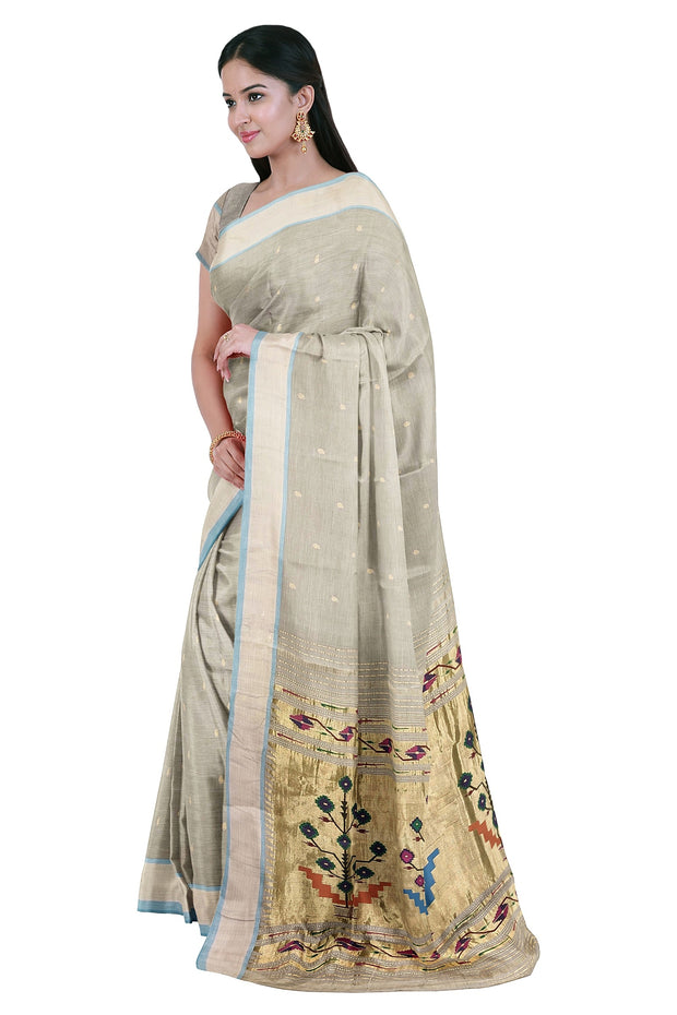 Grey pure cotton paithani with rich pallu