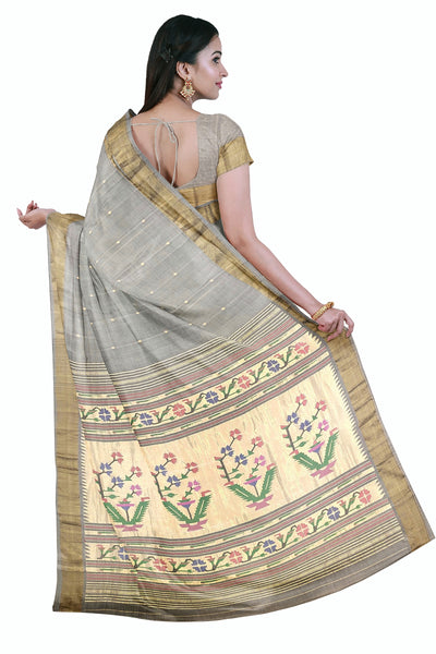Grey rich pallu cotton paithani
