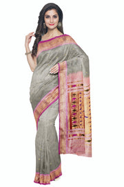 Grey paithani with baby pink border