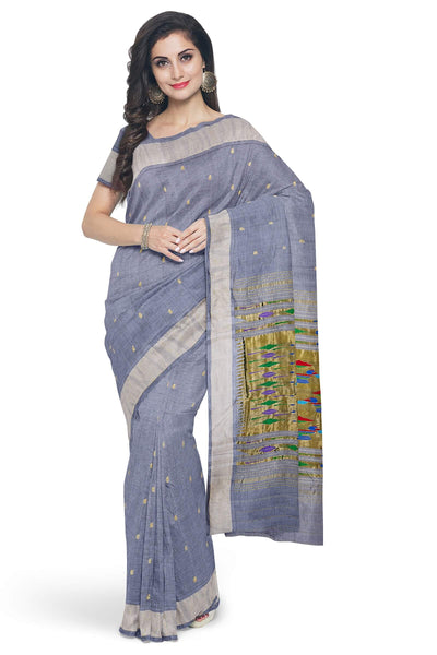 Grey pure cotton paithani
