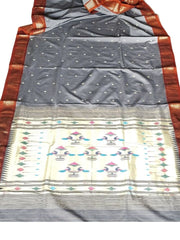 Grey cotton paithani with copper border