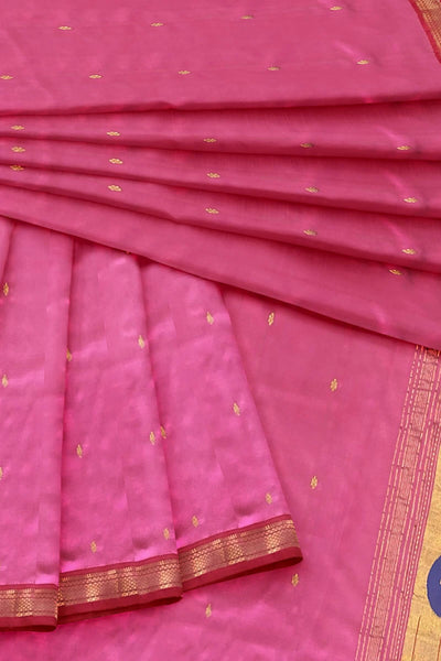 Pink paithani dupatta with red border
