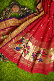 Red paithani dupatta with purple border