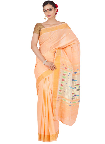 Peach cotton paithani
