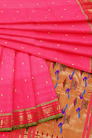 Pink peach pure paithani with green border