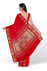 Red single color silk paithani