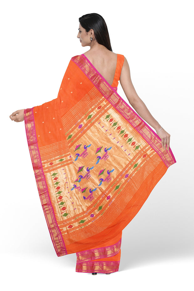 Orange pure silk paithani with pink border