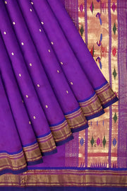 Purple pure silk paithani dupatta