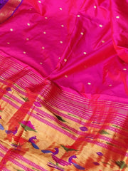 Pink silk paithani with purple border