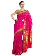 Pink pure silk paithani with green border
