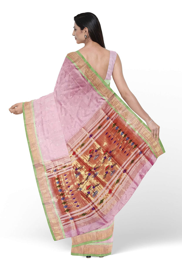Baby pink silk paithani with green border