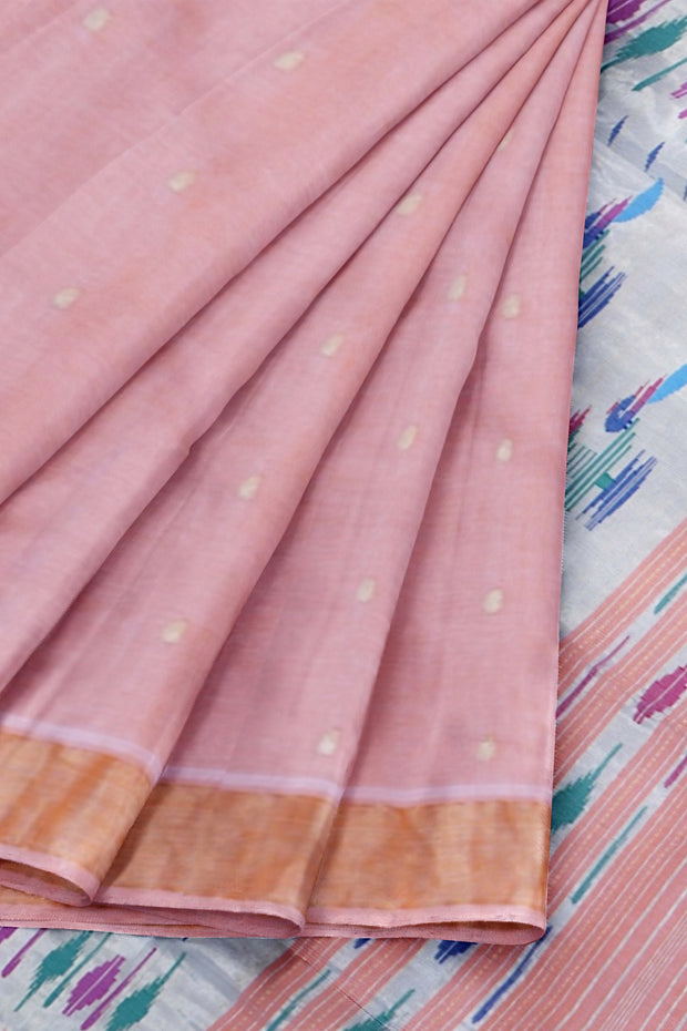 Peach pure cotton paithani
