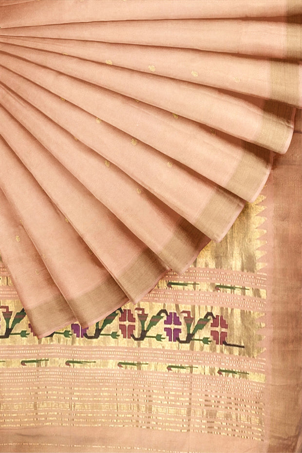 Peach cotton paithani in single color
