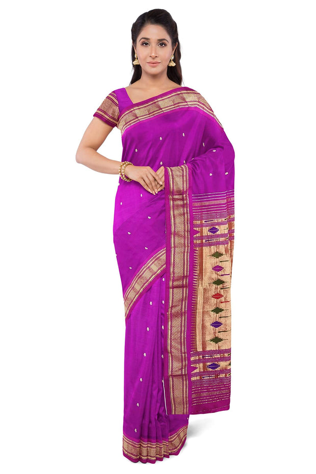 Magenta paithani in single color