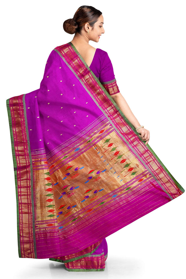 Purple silk paithani with green border